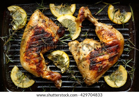 Grilled chicken with rosemary and lemon