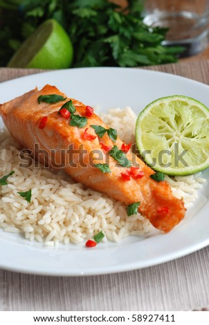 Grilled chilli and coriander salmon with rice