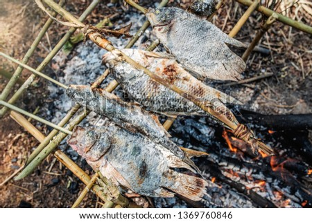 Grilled Fish,Burnt fish menu #1369760846