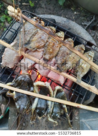 Grilled fish grilled frog and grilled pork bones Grill on charcoal #1532736815
