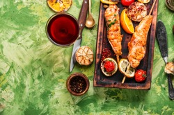 Grilled fish, grilled salmon steak with addition of lemon.Grilled fish with spices