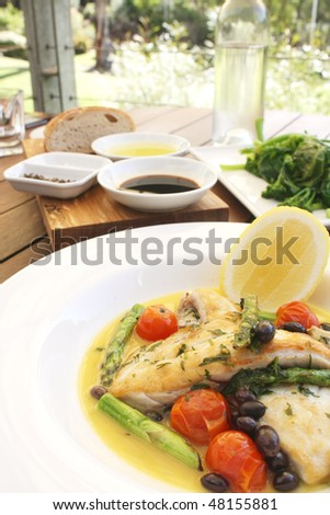 Grilled Fish Healthy Food Meal with Vegetables
