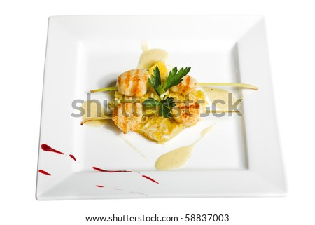 grilled fish isolated on the white background