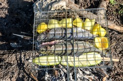 Grilled Fish on the fire. Preparing and grilling fresh and delicious trout from the river. Preparing fish food in camp in nature. Marinaded trout fish on the grill.