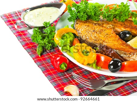 grilled fish with fresh vegetable and rice