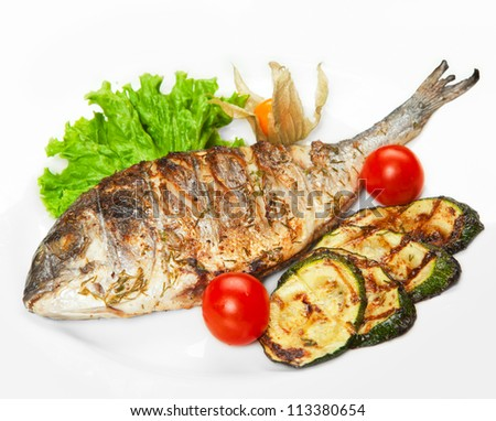 Grilled fish with vegetables stock photo 113380654 for What vegetables go with fish