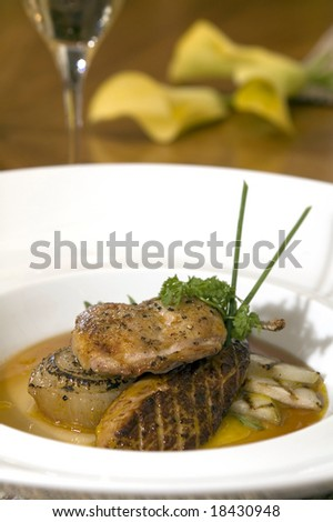 Grilled Foie gras with grilled vegetables