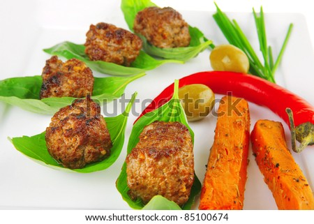 grilled french cutlets and sweet baked potatoes