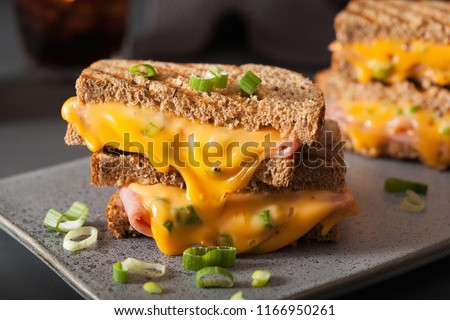 Photo of  grilled ham and cheese sandwich