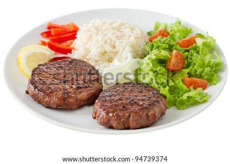 grilled hamburger with rice and salad