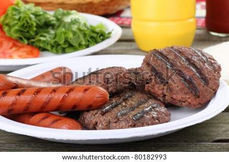 Grilled hamburgers and hot dogs on a picnic plate