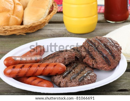 Grilled hamburgers and hot dogs on a picnic table