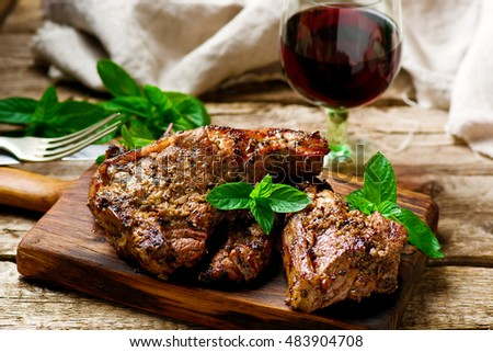 Grilled lamb chops marinated with mint .style rustic. selective focus #483904708