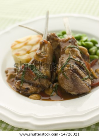 Grilled Lamb Cutlets Chasseur sauce Pomme Anna and Baby Broad beans