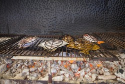 Grilled Local Fish in Getaria Town in Basque Country, Europe