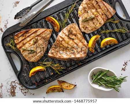 Grilled Marinated Swordfish Steaks with Lemon and Rosemary