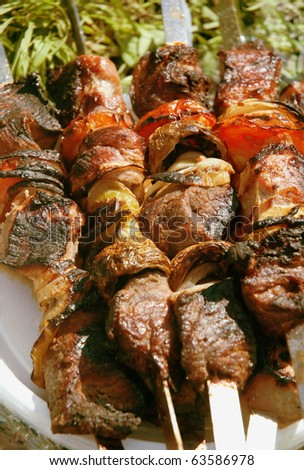 Grilled meat on a skewer. Close up.