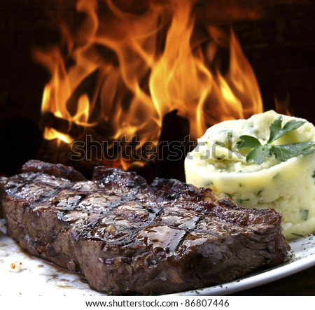 Grilled meat with mashed potatoes