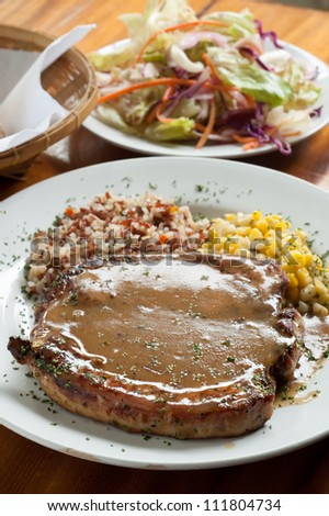 Grilled Pork chop Steaks with corn and rice