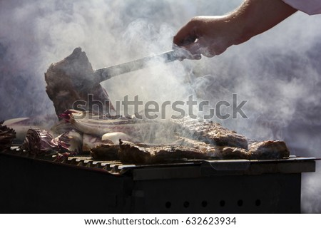 Grilled pork ribs on the grill