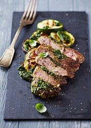 Grilled Pork with Salsa Verde and Zucchini, sliced