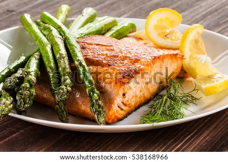 Grilled salmon and asparagus  #538168966