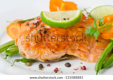 Grilled salmon and vegetables. Selective focus