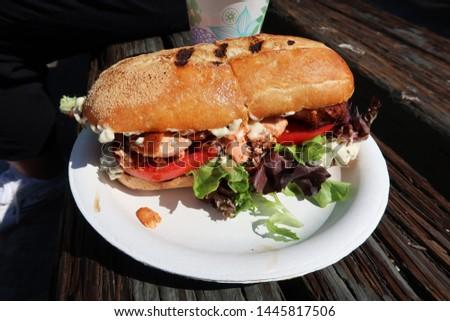 Grilled Salmon BLT Sandwich at Farmer's Market, San Fransico, USA Сток-фото ©