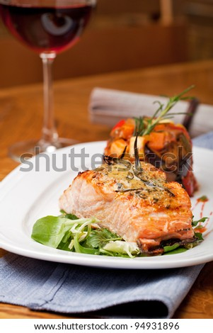 Grilled salmon fillet with ratatouille