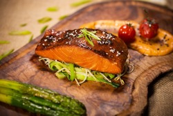 Grilled Salmon on a wooden board