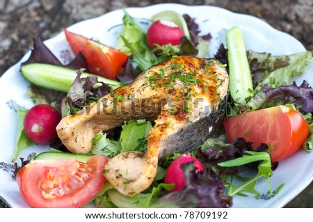 Grilled salmon on vegetables
