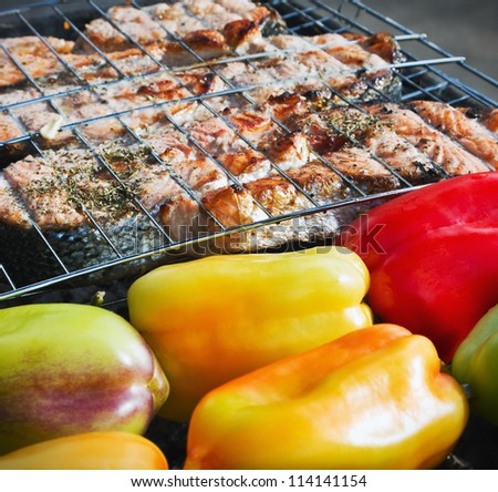 grilled salmon steak and sweet pepper