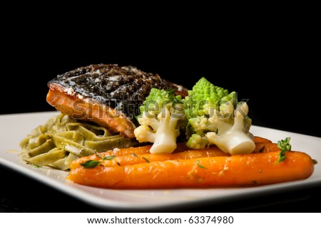 Grilled Salmon With Pasta Romanesco Broccoli And Glazed Carrots