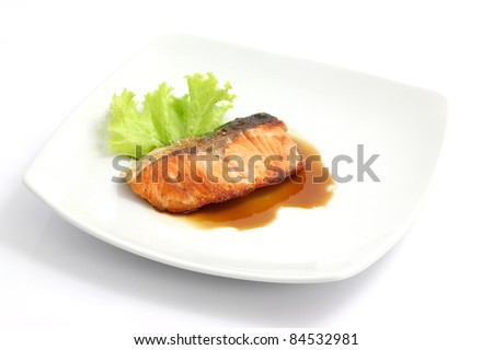grilled salmon with teriyaki sauce isolated in white background - stock photo