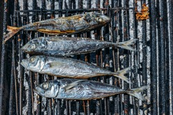 Grilled salty mackerel fish on the grill closeup