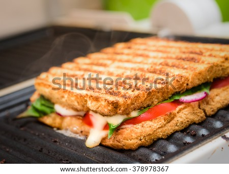 grilled sandwich / panini on grill, selective focus Stock photo ©