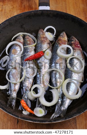 grilled sardine in a pan ready to eat #47278171