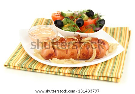 Grilled sausage with fresh salad isolated on white