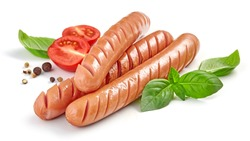 grilled sausages with herbs and tomato isolated on white background