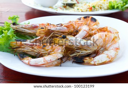 Grilled shrimp at a  restaurant in Thailand