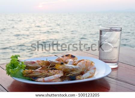 Grilled shrimp at a seaside restaurant in Thailand