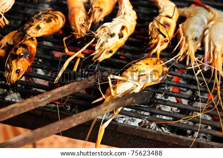 Grilled shrimp on the stove