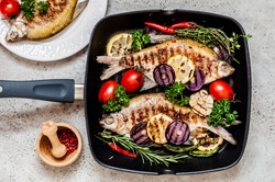 Grilled Skimmer Breams with Vegetables and Herbs