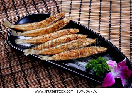 Grilled Smelts / grilled spring fish /  Capelin /  roast fish  seafood japanese style