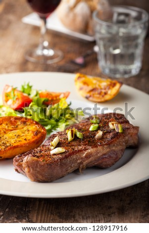 grilled steak with roasted potato