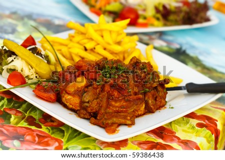 Grilled Steak with Stuffing of Goose - Liver,sliced