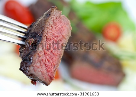 grilled strip steak with a chunk
