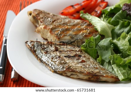 grilled swordfish with salad and pepper