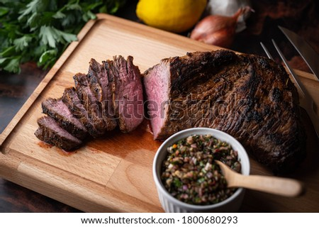 grilled tri tip steak with chimichurri sauce Photo stock ©