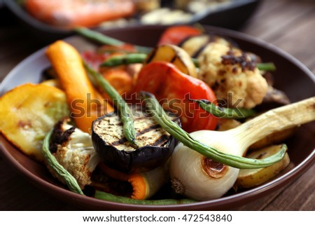Grilled vegetables, closeup #472543840